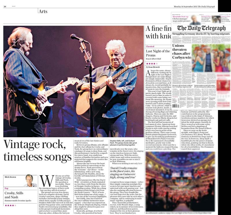 Image Usage - Daily Telegraph 14 September 2015 - Crosby, Stills & Nash concert Eventim Apollo 12 September 2015