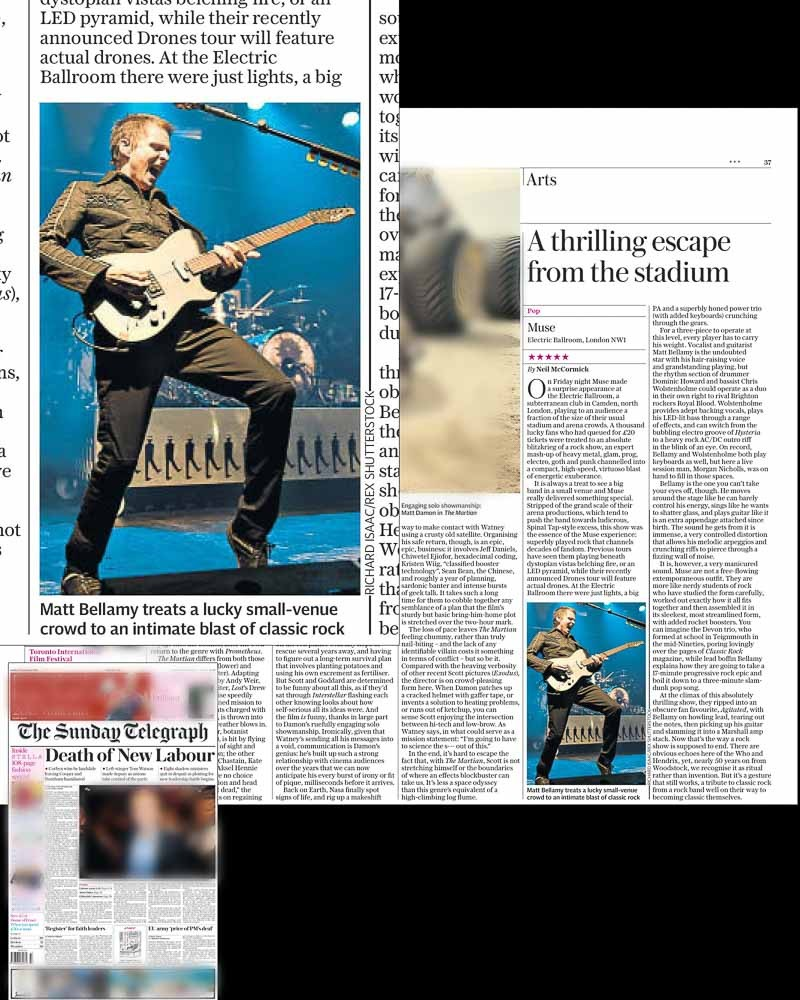 Editorial usage - Sunday Telegraph 13 September 2015 - Muse surprise gig at the Electric Ballroom 11 September 2015
