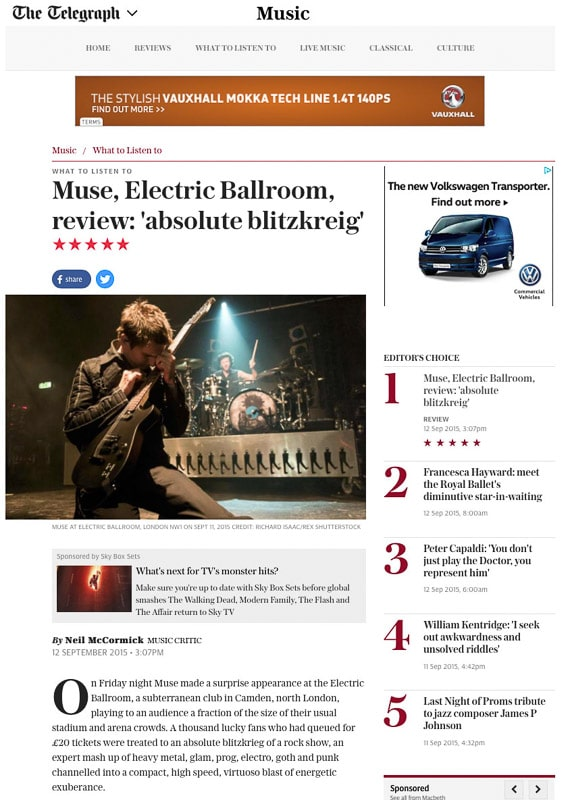 Editorial usage - Telegraph online 12 September 2015 - Muse surprise gig at the Electric Ballroom 11 September 2015
