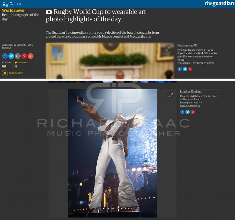 Editorial image usage - Guardian online Best Photographs of the Day 23 September 2015 - Florence and the Machine live concert Alexandra Palace 22 September 2015