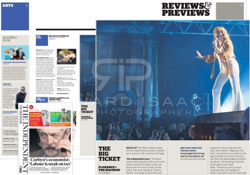 Editorial image usage - Independent on Sunday 27 September 2015 - Florence and the Machine live concert Alexandra Palace 22 September 2015