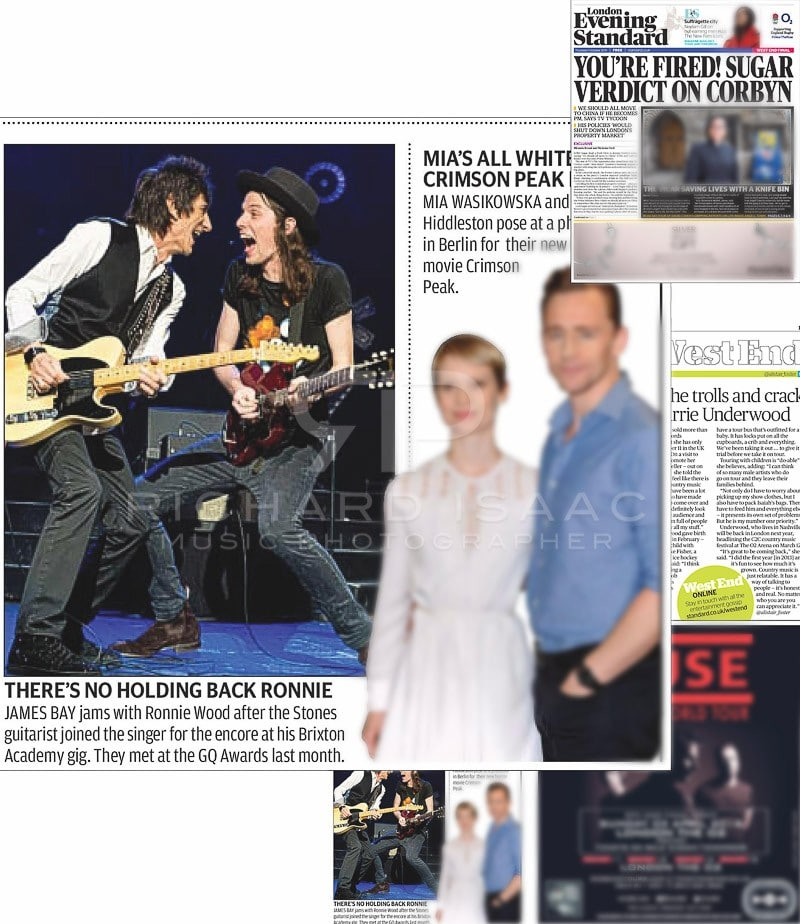 Editorial image usage - Evening Standard print 1 October 2015 - James Bay concert Brixton Academy 30 September 2015