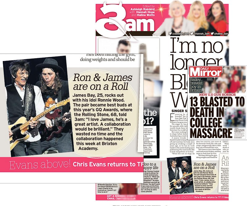 Editorial image usage - Daily Mirror 2 October 2015 - James Bay concert Brixton Academy 30 September 2015