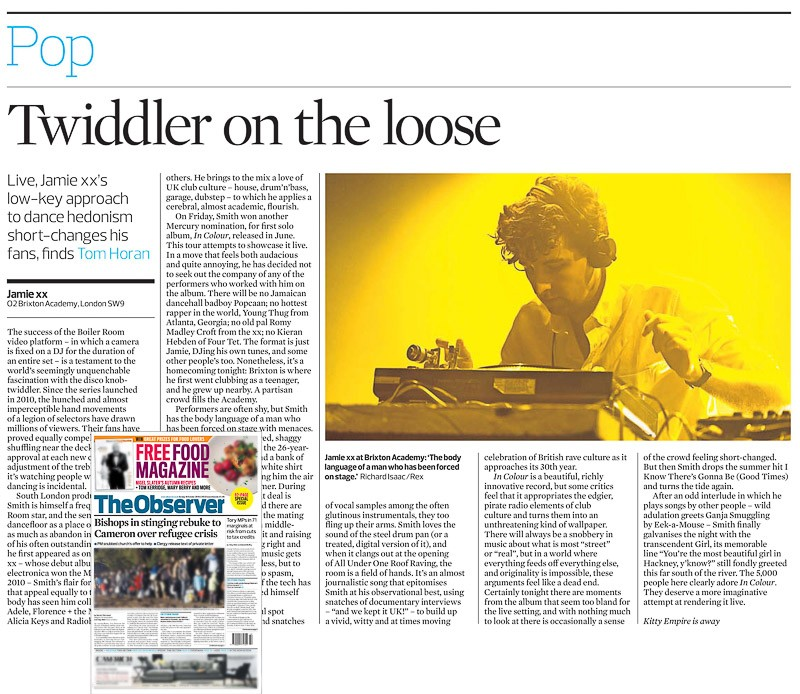 Image usage - The Observer print 18 October 2015 - Jamie XX O2 Academy Brixton 15 October 2015