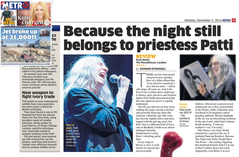 Image usage - Metro print 2 November 2015 - Patti Smith concert the Roundhouse 30 October 2015