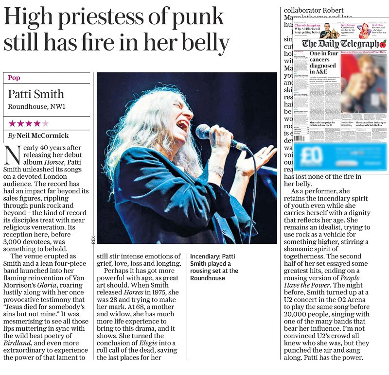 Image usage - Daily Telegraph print 2 November 2015 - Patti Smith concert 30 October 2015