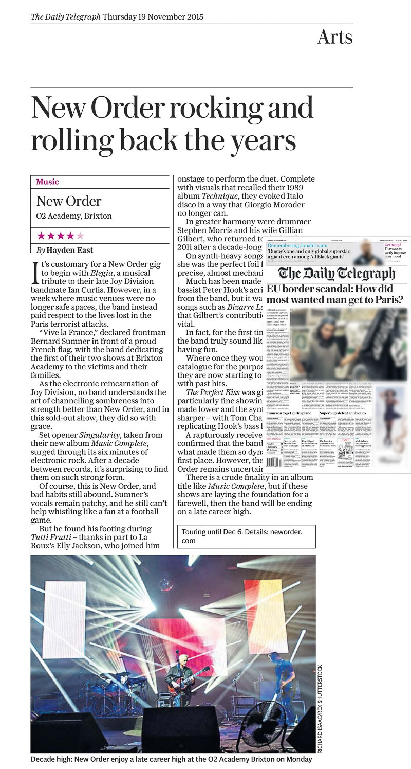 Image usage - Daily Telegraph 19 Nov 2015 - New Order live at O2 Academy Brixton 16 Nov 2015
