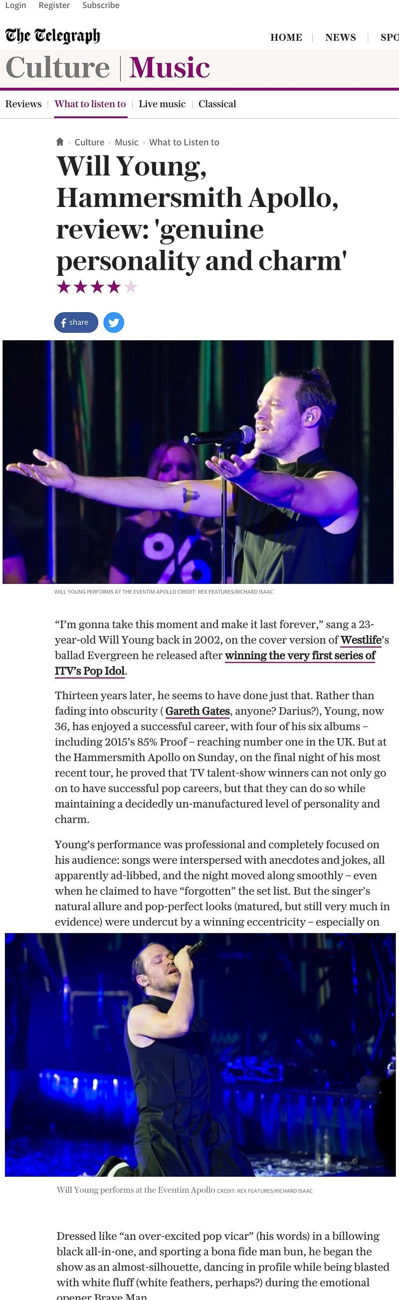 Image usage - Daily Telegraph online 30 November 2015 - Will Young live at Eventim Apollo 29 November 2015