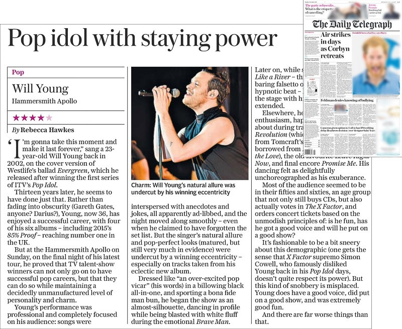 Image usage - Daily Telegraph print 1 December 2015 - Will Young live at Eventim Apollo 29 November 2015