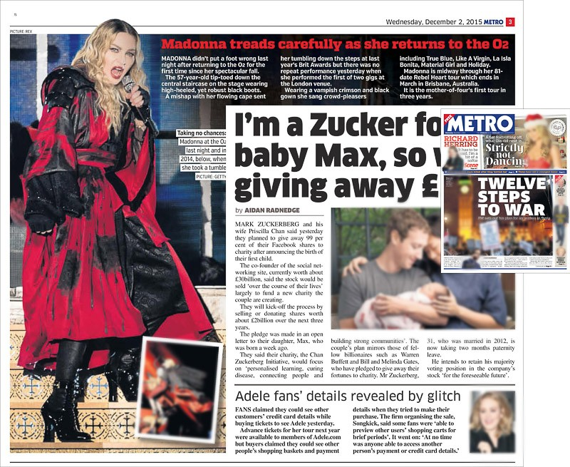 Image usage - Metro print 2 December 2015 - Madonna live at The O2 Arena, 1 December 2015