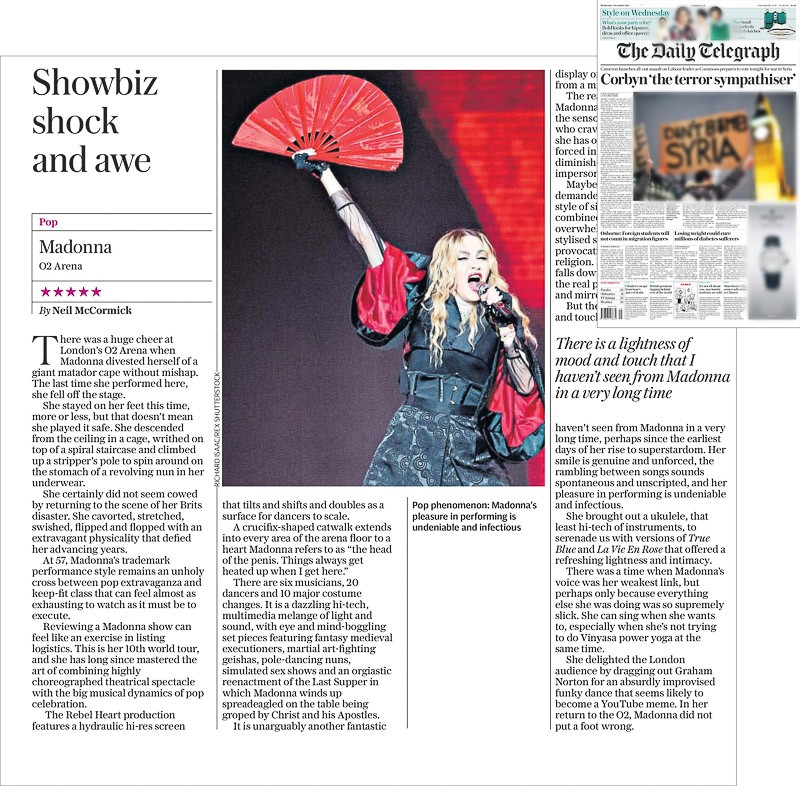 Image usage - Daily Telegraph print 2 December 2015 - Madonna live at The O2 Arena, 1 December 2015