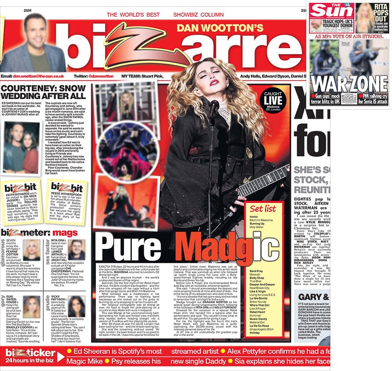Image usage - The Sun print 2 December 2015 - Madonna live at The O2 Arena, 1 December 2015