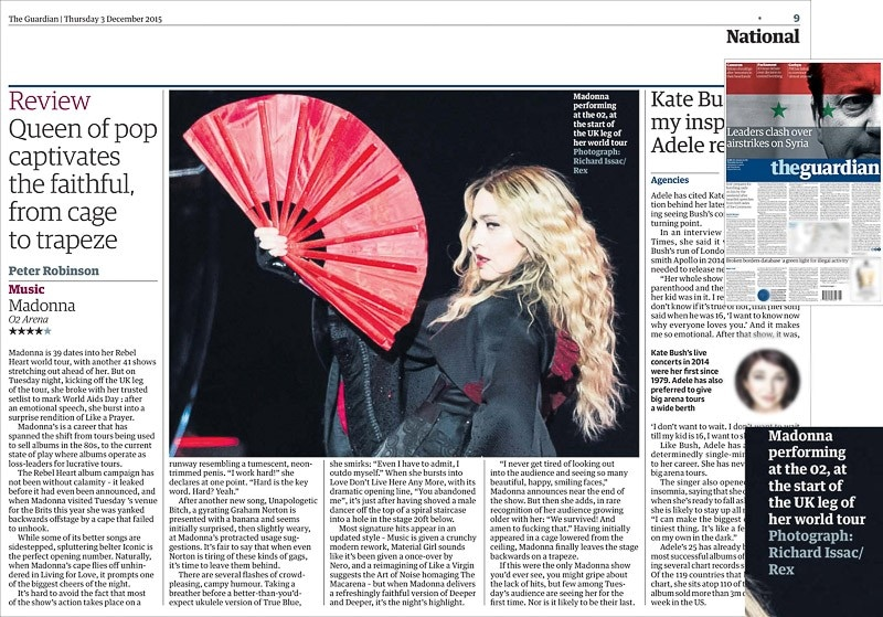 Image usage - The Guardian print 3 December 2015 - Madonna Rebel Heart Tour The O2 Arena 1 December 2015