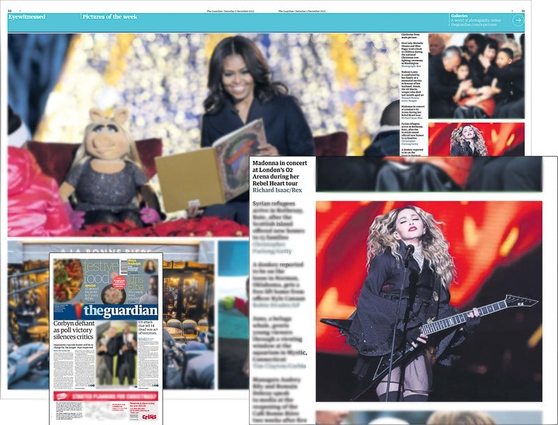 Image usage - The Guardian 5 December 2015 - Madonna Rebel Heart tour live at The O2 Arena 1 December 2015