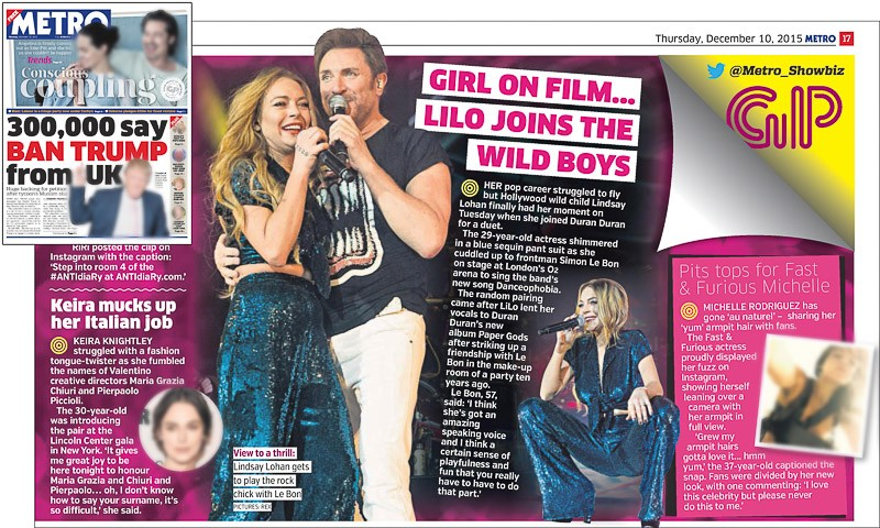 Image usage - Metro newspaper 10 December 2015 - Duran Duran live at The O2 Arena, 8 December 2015