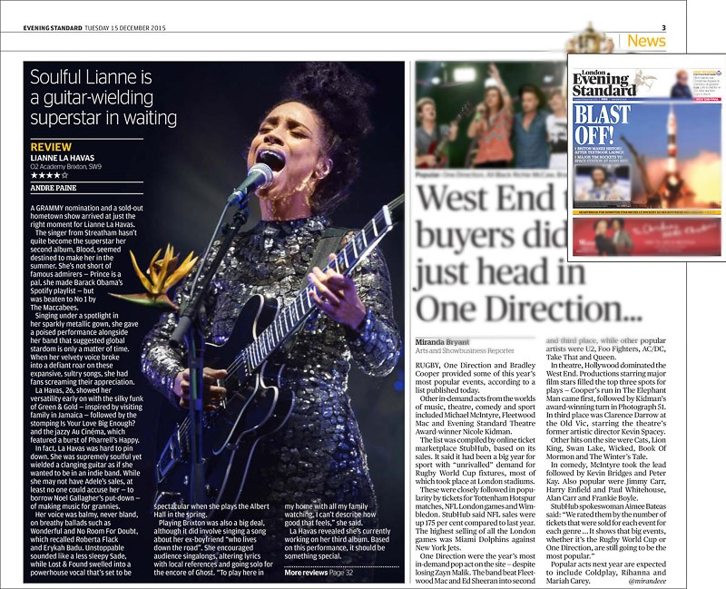 Image usage - The Evening Standard 15 December 2015 - Lianne La Havas concert O2 Academy Brixton 14 December 2015