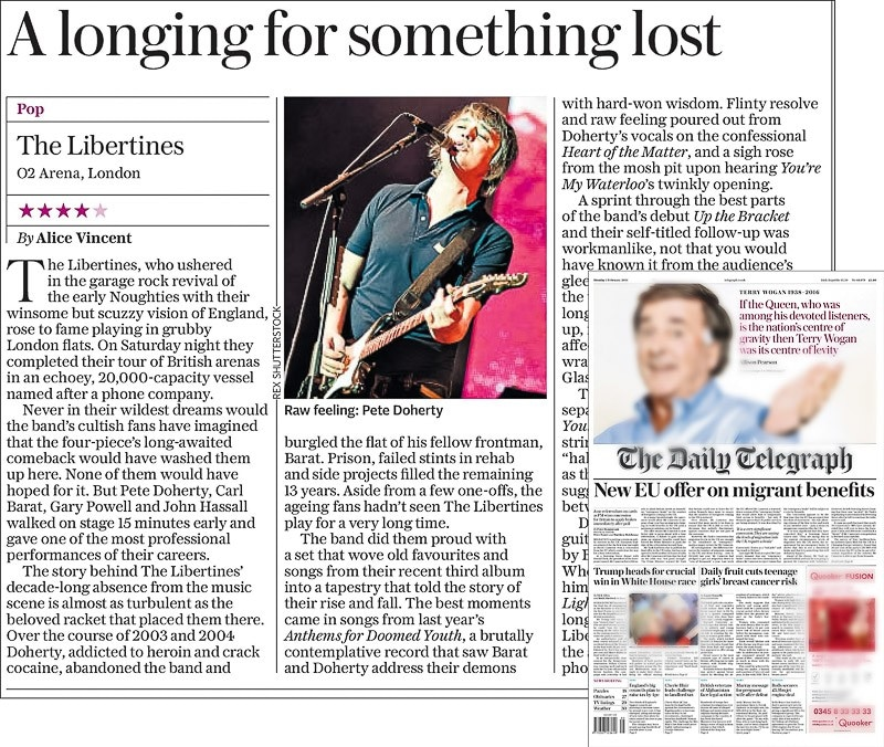 Image Usage - The Daily Telegraph newspaper 1 February 2016 - The Libertines live at The O2 Arena, 30 January 2016