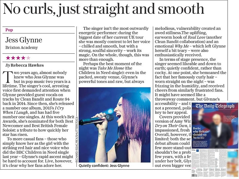 Image usage - The Daily Telegraph newspaper 22 February 2016 - Jess Glynne live at O2 Academy Brixton, 20 February 2016