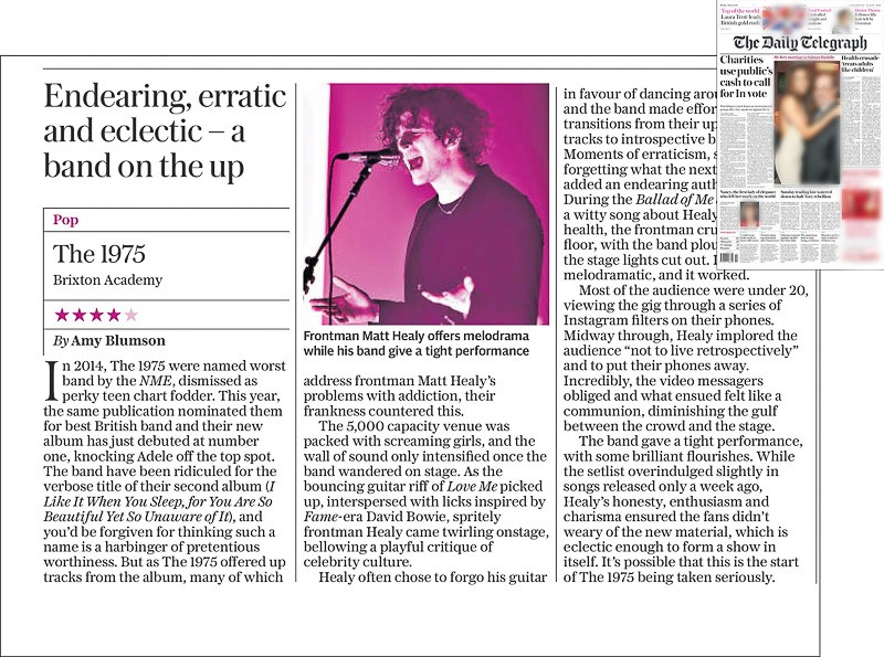 Image usage - Daily Telegraph newspaper 7 March 2016 - The 1975 live at O2 Academy Brixton, 5 March 2016