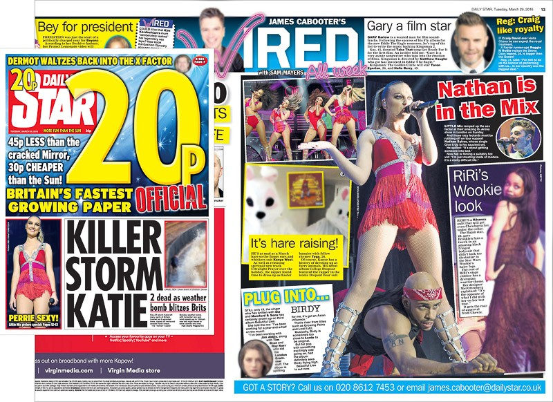 Image usage - Daily Star editorial plus front cover 29 March 2016 - Little Mix live at The O2 Arena 27 March 2016