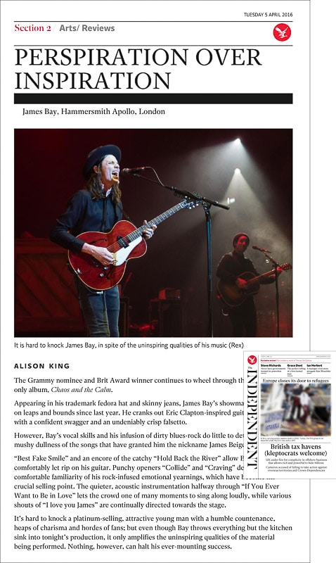 Image usage - The Independent newspaper print 5 April 2016 - James Bay live at Eventim Apollo 30 March 2016