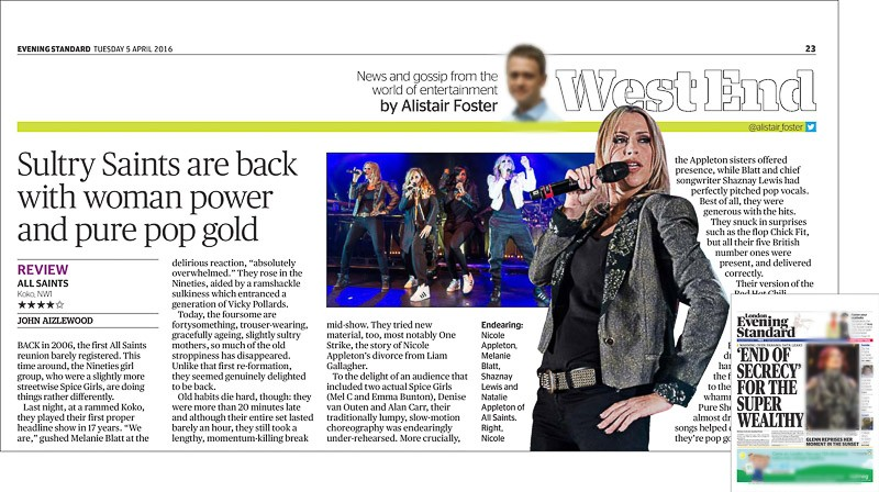 Image usage - Evening Standard print newspaper 6 April 2016 - All Saints live at KOKO, 4 April 2016