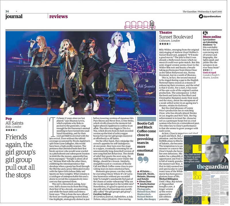 Image usage - The Guardian print newspaper 6 April 2016 - All Saints live at KOKO, 4 April 2016