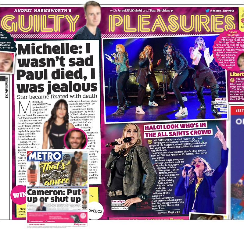 Image usage - Metro print newspaper 6 April 2016 - All Saints live at KOKO, 4 April 2016