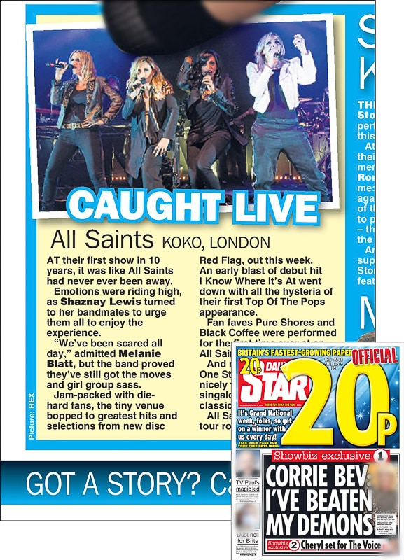 Image usage - Daily Star print newspaper 6 April 2016 - All Saints live at KOKO, 4 April 2016