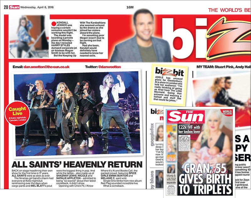 Image usage - The Sun print newspaper 6 April 2016 - All Saints live at KOKO, 4 April 2016