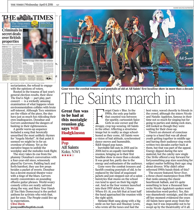 Image usage - The Times print newspaper 6 April 2016 - All Saints live at KOKO 4 April 2016