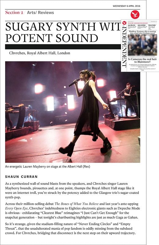 Images usage - The Independent newspaper print 6 April 2016 - Chvrches live at the Royal Albert Hall, 31 March 2016