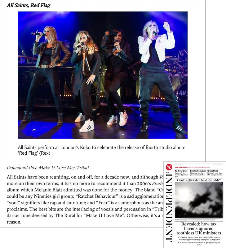 Image usage - The Independent print newspaper 9 April 2016 - All Saints live at KOKO 4 April 2016