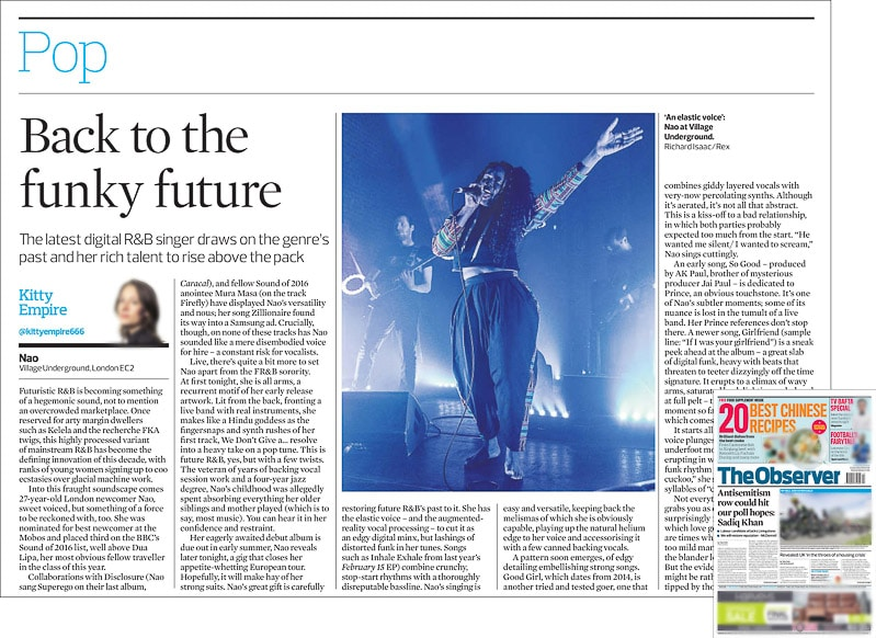 Image usage - The Observer print newspaper 1 May 2016 - Nao live at Village Underground 26 April 2016