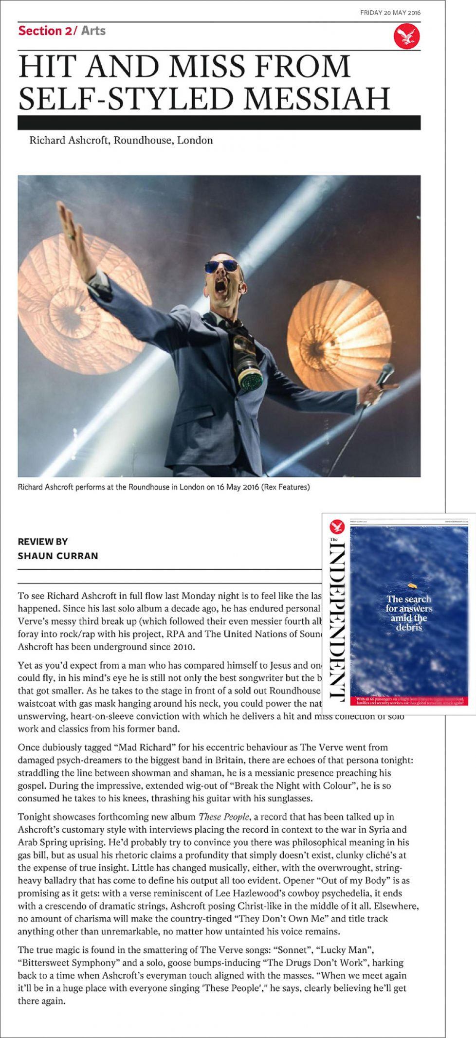 Image usage - The Independent print newspaper 20 May 2016 - Richard Ashcroft live at the Roundhouse 16 May 2016