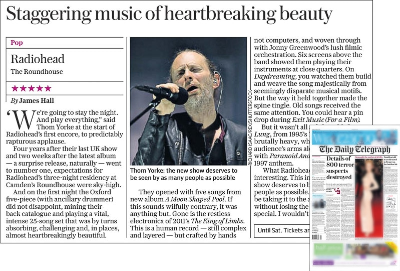Image usage the Daily Telegraph print newspaper 27 May 2016 - Radiohead live at the Roundhouse 26 May 2016