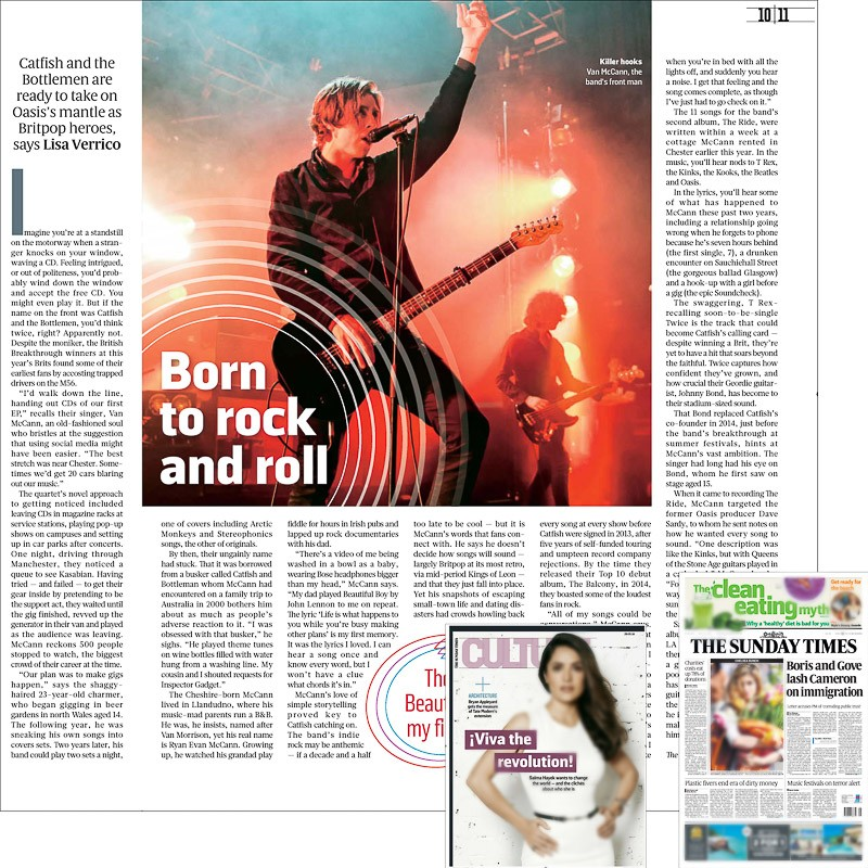 Image usage - Sunday Times print newspaper Culture Magazine 29 May 2016 - Catfish and the Bottlemen live at the O2 Forum, 11 April 2016