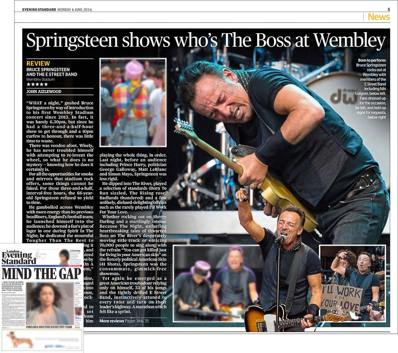 Image usage - Evening Standard newspaper print 6 June 2016 - Bruce Springsteen live at Wembley Stadium 5 June 2016