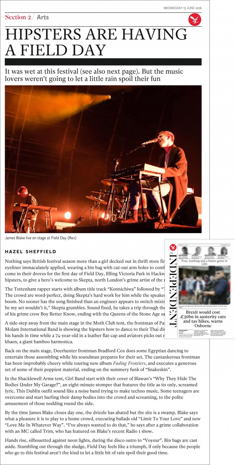 Image usage - The Independent print newspaper 15 June 2016 - James Blake live at Field Day Festival 2016 11 June 2016