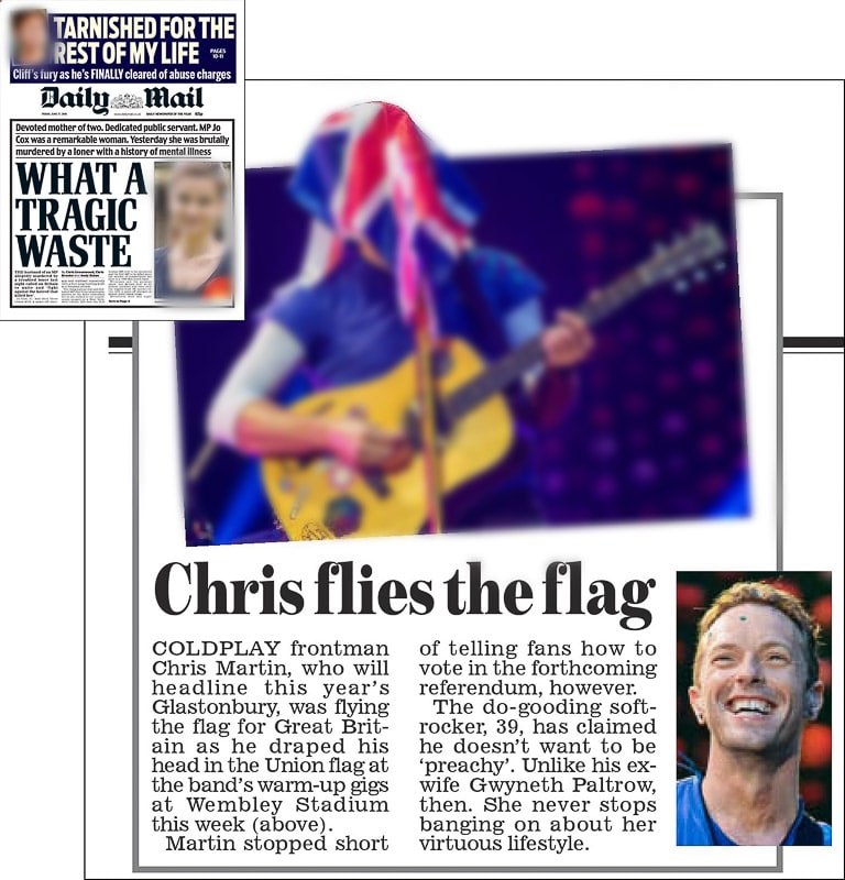 Image usage - Daily Mail print newspaper 17 June 2016 - Coldplay live at Wembley Stadium 15 June 2016