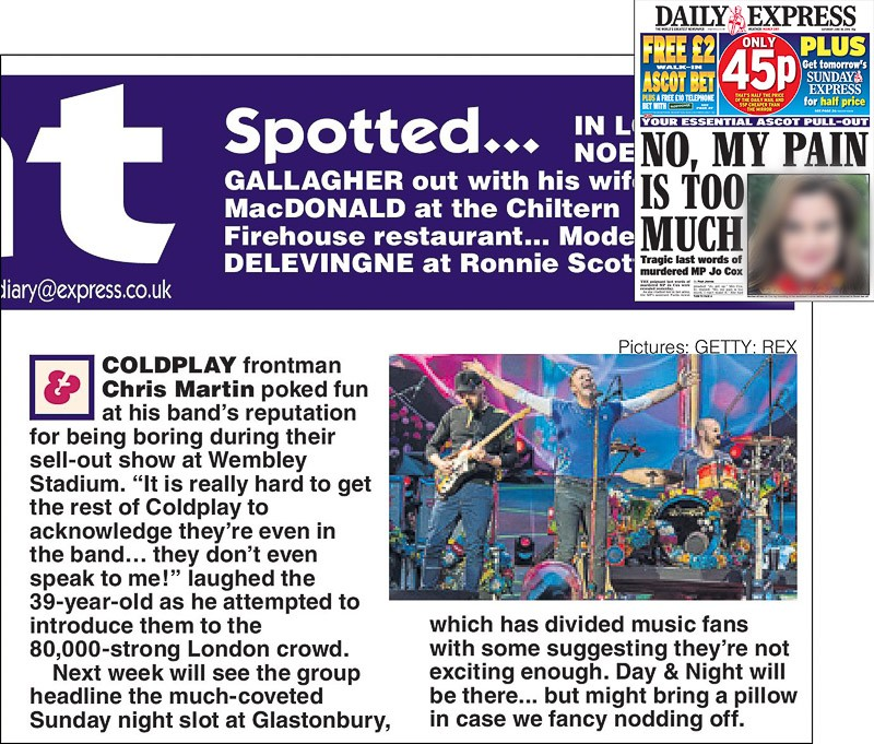 Image usage - Daily Express print newspaper 18 June 2016 - Coldplay live at Wembley Stadium 15 June 2016