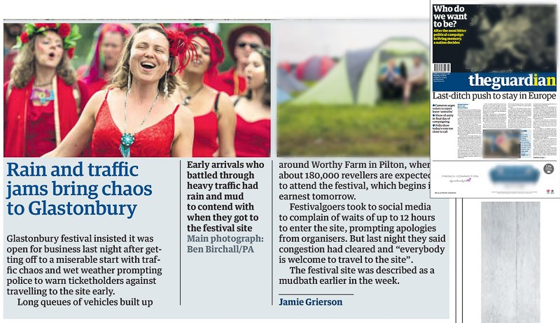 Image usage - The Guardian print newspaper 23 June 2016 - Glastonbury Festival 2016