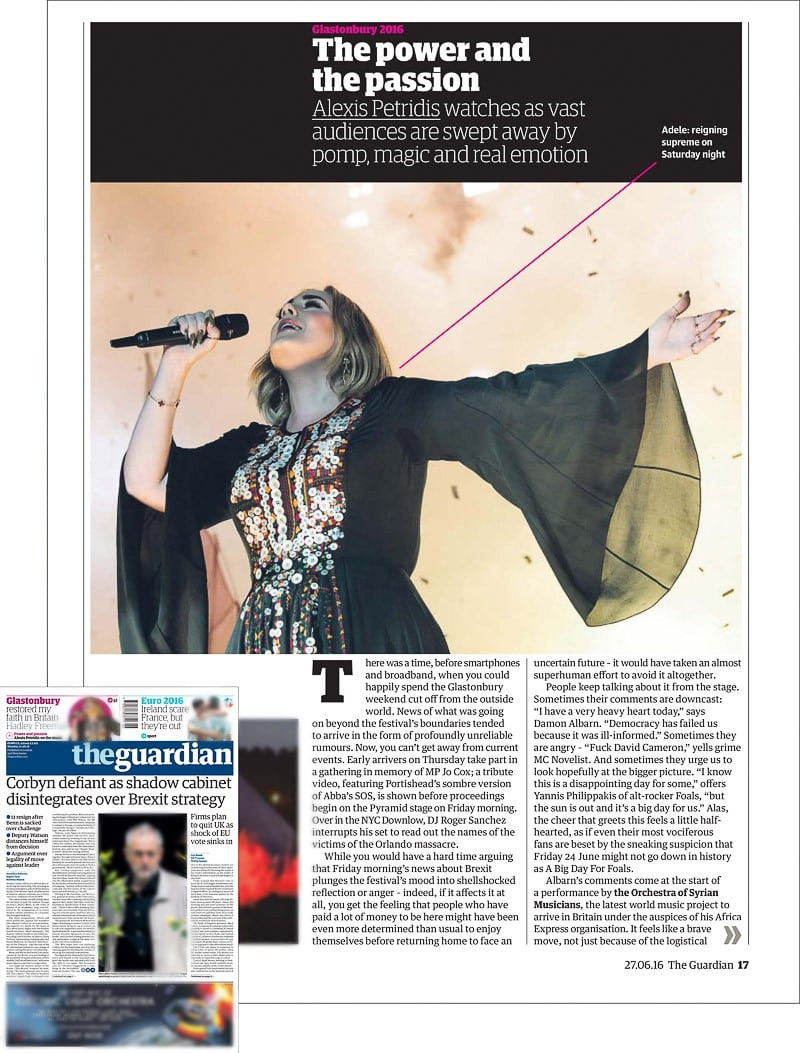 Image usage - The Guardian print newspaper 27 June 2016 - Adele performing live at Glastonbury Festival 2016
