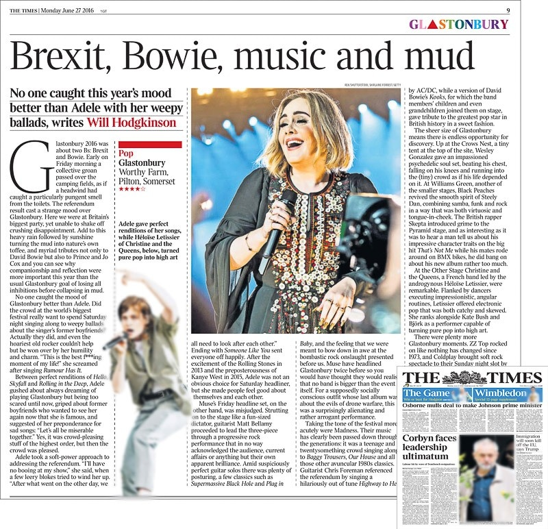 Image usage - The Times print newspaper 27 June 2016 - Adele performing live at Glastonbury Festival 2016