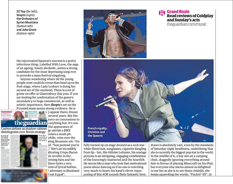 Image usage - The Guardian print newspaper 27 June 2016 - Christine and the Queens, and Skepta, performing live at Glastonbury Festival 2016