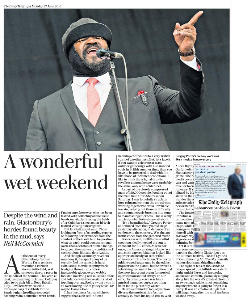 Image usage - The Daily Telegraph print newspaper 27 June 2016 - Gregory Porter performing live at Glastonbury Festival 2016
