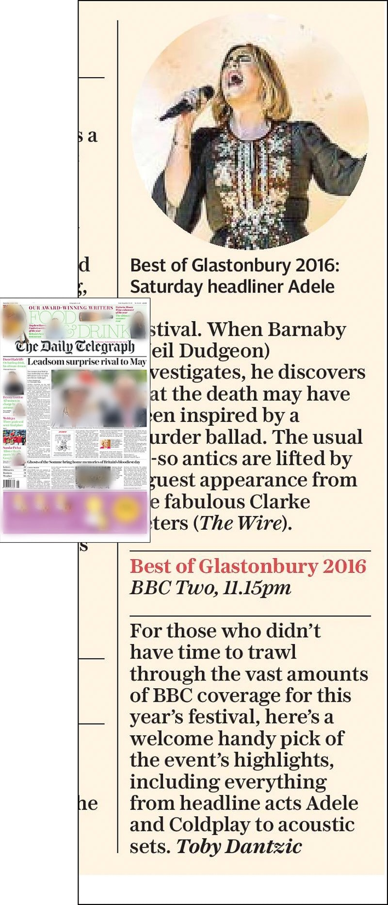 Image usage - The Daily Telegraph print newspaper 2 July 2016 - Adele performing live at Glastonbury Festival 2016