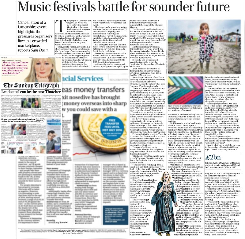 Image usage - The Sunday Telegraph print newspaper 3 July 2016 - Adele performing live at Glastonbury Festival 2016
