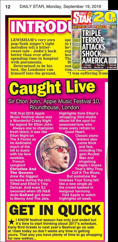 Image usage - Daily Star print newspaper 19 September 2016 - Sir Elton John live at the Roundhouse for the Apple Music Festival, 18 September 2016