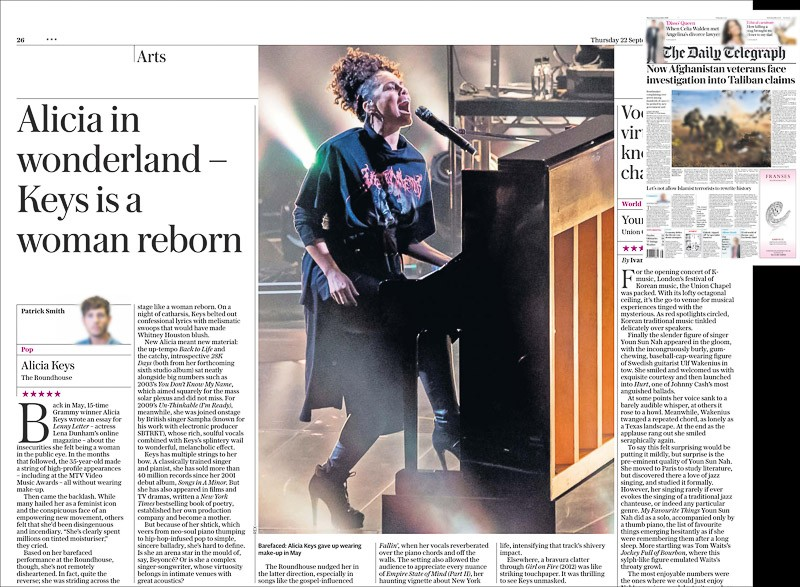 Image usage - Daily Telegraph print newspaper 22 September 2016 - Alicia Keys live at the Roundhouse for the Apple Music Festival, 20 September 2016